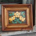 Tűzzománc kép , Dekoráció, Képzőművészet, Kép, Tűzzománc, Tűzzománc virágok különleges fa keretben  A kép mérete kerettel együtt: 19,5 cm x 16 cm , Meska
