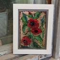 Tűzzománc kép, Képzőművészet, Dekoráció, Kép, Tűzzománc, Impresszió ! Virágok a nyárból  Tűzzománc kép sgafitto technikával készült. Kerettel 18 cm x 23 cm ..., Meska