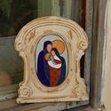 Szent család tűzzománc kép , Otthon, lakberendezés, Falikép, Különleges vintage keretben. Szent családot ábrázoló, rekeszzománc technikával készült alk..., Meska