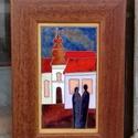 Tűzzománc kép , Képzőművészet, Otthon, lakberendezés, Falikép, Ketten c.  tűzzománc kép yfa keretben Mérete képlemez 10 cm x 20 cm  Fakeret 18 cm x 28 cm , Meska