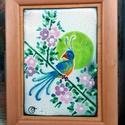 tűzzománc kép, Otthon, lakberendezés, Falikép, Tűzzománc, Vidám, virágos, madaras  festőzománc technikával készült alkotás. Kép mérete kerettel együtt : 18 c..., Meska