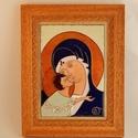 Tűzzománc ikon. Mária a gyermek Jézussal. tűzzománc kép, Képzőművészet, Dekoráció, Kép, Tűzzománc, tűzzománc ikon  Rekeszzománc technikával készült kép. Máriát ábrázolja a gyermek Jézussal.  Teljes ..., Meska