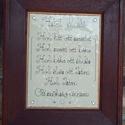 Házi áldás, Dekoráció, Kép, Tűzzománc, Ötvös, Tűzzománc alapon kézzel hajtogatott rézszálakból íródtak a betűk.  Egy régi tölgyfa keret foglalja ..., Meska