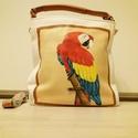 Papagáj mintás kézzel festett női táska, Táska & Tok, Kézitáska & válltáska, Vállon átvethető táska, Festett tárgyak, Vadonat új, papagáj mintás, fehér barna, kézzel festett női kézi és válltáska. A táska magassága 30..., Meska