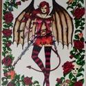 Démonlány - üvegkép, Dekoráció, Kép, A4-es méretű, egyedi mintájú kép. Üvegfestés klipszes kereten., Meska