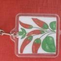 Kalocsai paprika mintás kulcstartó , Mindenmás, Kulcstartó,   Saját készítésű,kulcstartó kalocsai motívummal.  Négyzet alakú, nagyon szép,saját kész..., Meska