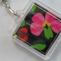 Kalocsai rózsaszín virág mintás kulcstartó , Mindenmás, Kulcstartó,  Saját készítésű,kulcstartó kalocsai virág motívummal.  Négyzet alakú, nagyon szép,saját..., Meska