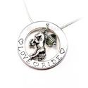 Ezüst LOVE-RIDE medál lánccal, Ékszer, Nyaklánc, Ezüst Love - Ride medál kis lóval és oliv színű Swarovski gyöngyel ezüst kígyó láncon  átmérő: 24 mm..., Meska