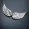 Ezüst  angyalszárny nyakék, Ékszer, Nyaklánc, 925-ös fémjeles ezüst angyalszárny nyakék   betét méretei: szélessége: 5,2 cm magassága: 1,5 cm  Vál..., Meska