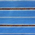 Barna mintás kék szőnyeg., Dekoráció, Otthon, lakberendezés, Lakástextil, Szőnyeg, Szövés, Kézi szövéssel készült ez a rongyszőnyeg. Középkék szőnyeg, barna mintás csíkokkal,  körülötte ismé..., Meska