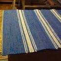Középkék faliszőnyeg, Otthon, lakberendezés, Lakástextil, Szőnyeg, Régi takács szövőszéken készítettem ezt a rongyszőnyeget. Falra-földre is szép. Anyaga: pa..., Meska
