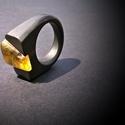 Ébenfa borostyán gyűrű, Ékszer, Gyűrű, Ébenfa borostyán gyűrű, Meska