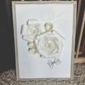 Virágom, Otthon, lakberendezés, Falikép, Papírművészet, Ez a kép egy 30*40 cm-es festőkarton. A képen lévő virágok papírból készültek, a kerete pedig bálam..., Meska