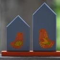 Narancs madárkák házikó, Dekoráció, Otthon, lakberendezés, A házikó szobor fenyőfából készült, amit festéssel-lakkozással és szalvéta technikával d..., Meska