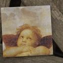 Angyal csempekép, Dekoráció, Otthon, lakberendezés, 10x10 cm-es csempére szalvétatechnikával készítettem el, ezt az angyalos képet.  Akaszthatod f..., Meska