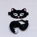 Macska/cica álarc és farok farsangi, halloweeni jelmezhez több színben - KÉSZLETEN, Játék, Dekoráció, Ünnepi dekoráció, Farsangi jelmez, Farsangra, halloweenre ajánlom ezt az iparművész férjem által tervezett macska (cica) álarcot és a h..., Meska