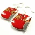 Piros bagoly - fülbevaló ,  Lógós fülbevaló zsugorfóliából, fényes la...