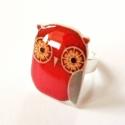 Bagoly - gyűrű, Zsugorfóliából készült gyűrű, fényes lakko...