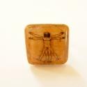 Leonardo da Vinci: Tanulmány az emberi testről - gyűrű, Zsugorfóliából készült gyűrű, fényes lakko...
