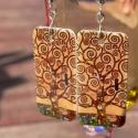 Klimt - fülbevaló, Lógós fülbevaló zsugorfóliából, fényes lak...