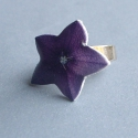 Lila csillag virág - gyűrű, Zsugorfóliából készült gyűrű, fényes lakko...