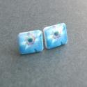 Kék virág fülbevaló, Könnyű kék virágocska, bedugós fülbevalón s...