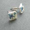 Kék írisz fülbevaló, Kék Írisz, bedugós fülbevalón szilikonstopper...