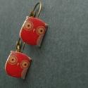 Piros bagoly - fülbevaló , Lógós fülbevaló zsugorfóliából, fényes lak...