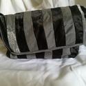 Fekete-ezüst csíkos selyem táska, Táska, Válltáska, oldaltáska, Varrás, Egyedi, elegáns, kézzel varrt táska. Mérete: 30*16*8 cm, a belső zseb 16*12 cm. A vállpántja 66 cm...., Meska
