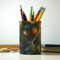 Olívabogyós ceruzatartó, Dekoráció, Otthon, lakberendezés, Asztaldísz, Tárolóeszköz, Újrahasznosított konzervdobozból, dekupázs technikával készített ceruzatartó a vidám tanévkezdésez. ..., Meska