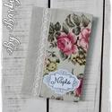 Romantikus, rózsás napló, borító füzetre, határidőnaplóra, naplóra, Naptár, képeslap, album, Jegyzetfüzet, napló, Natúr lenvászon, rózsás lenvászon és csipke felhasználásával készítettem ezt a romantikus..., Meska