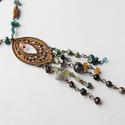 My Goddess - féldrágaköves nyaklánc, Réz alapra dolgoztam rá sok-sok különböző fo...