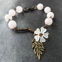 Cseresznyevirág - rózsakvarc és antik bronz karkötő, Ehhez a karkötőhöz fazettált rózsakvarc gyön...