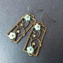 Nefelejcs - fülbevaló, Kék üvegvirágokat dolgoztam rá antik bronz med...