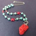 Korallsziget - féldrágakő nyaklánc, Ezt a nyakláncot egyedi formájú piros koralldar...