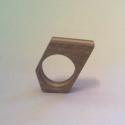 szögletes gyűrű, Ékszer, óra, Gyűrű, Famegmunkálás, Ékszerkészítés, Tölgy-fenyő lapokból ragasztott gyűrű. Ujj méret 18 mm, Meska