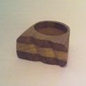 hullámos gyűrű, Ékszer, óra, Gyűrű, Famegmunkálás, Tölgy-fenyő lapból ragasztott gyűrű.A ragasztás saját munka. Ujj méret 18 mm., Meska