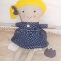 Textil baba, Játék, Baba játék, Plüssállat, rongyjáték, 35 cm magas textil baba, levehető szoknyával, hímzett arccal. Keze, lába mozgatható.  Alapanyag..., Meska