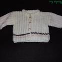 Baby kardigán, Ruha, divat, cipő, Gyerekruha, Baba (0-1év), Fehér műszál fonalból kötöttem egyedi minta alapján.Csak a szines csíkok mutatják kislányn..., Meska