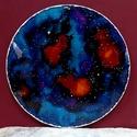 Galaxis ezüstkeretben, Dekoráció, Otthon, lakberendezés, Kép, Falikép, Kézzel vágott-csiszolt, 20 cm-es üveglapra festett mandala. Hátulját fehér akrilfestékkel kentem át,..., Meska