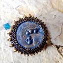 Királykék-óarany, Ékszer, Medál, Nyaklánc,  A medál alapja egy kérésre készült, igen érdekes, plasztikus, buborékos, mázatlan kerámia ..., Meska