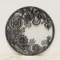 Fekete henna-mintás csipkemandala, Dekoráció, Otthon, lakberendezés, Kép, Falikép, Festészet, Üvegművészet, 18,5 cm-es, kézzel vágott-csiszolt üveglapra, saját minta alapján üvegkontúrral készült csipkemanda..., Meska