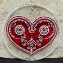 Mézeskalács szív üvegmandala, Dekoráció, Otthon, lakberendezés, Szerelmeseknek, Falikép, Kézzel vágott-csiszolt üveglapra készült szív-mandala, mézeskalács ihletésű mintával. A mandala mére..., Meska