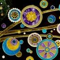 Színes buborékok...  (üvegfestmény), Dekoráció, Otthon, lakberendezés, Kép, Falikép, Aranyzöld hínár között pezsgő színes fantáziabuborékok....  Saját minta alapján festett üvegfestmény..., Meska