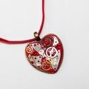 Steampunk szív (medál), Ékszer, Medál, Nyaklánc, Medálalap, polymer clay, és mechanikus óra alkatrészek felhasználásával készült medál. A m..., Meska