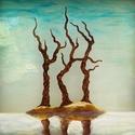 Jégbe zárva, Dekoráció, Képzőművészet, Férfiaknak, Festmény, Saját minta alapján készült minimalista üvegfestmény.  Mérete kerettel: 34,4 x 34,4 cm. A festett ré..., Meska