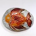 Aranyhal  (festett kő), Dekoráció, Férfiaknak, Otthon, lakberendezés, Legénylakás, Festészet, Festett tárgyak, Nagyon érdekes, márványos felületű dunai folyami kavicsra festett aranyhal. Horgászoknak, szerencse..., Meska