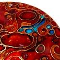 Vörös absztrakt (üvegfestmény, üvegkép), Képzőművészet, Dekoráció, Festmény, Kép, 19 cm-es, kézzel vágott-csiszolt üveglapra, saját minta alapján készült üvegfestmény, mandala.  Tisz..., Meska