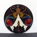 Csipkés szoknyás hölgybogár (üvegfestmény, üvegkép, festmény), Képzőművészet, Dekoráció, Festmény, Kép, Kézzel vágott-csiszolt, 19 cm-es üveglapra, saját minta alapján festett, fantáziabogarat ábrázoló üv..., Meska