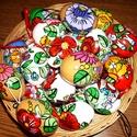 30 db kézzel festett műanyag tojás ., Magyar motívumokkal, Dekoráció, Festett tárgyak, 20 db fehér és 10 db vegyes színű műanyag tojás kalocsai mintával díszítve lakkozással fixálva .  , Meska